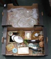 TWO BOXES CONTAINING A SELECTION OF DOMESTIC GLASSWARE and other items various