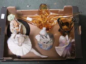 A BOX CONTAINING A SELECTION OF HUMANOID FIGURINES and modernist glassware