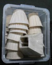 A CRATE CONTAINING A SELECTION OF LAMP SHADES VARIOUS