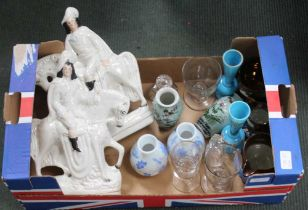 A BOX CONTAINING PREDOMINANTLY 19TH CENTURY POTTERY & GLASSWARE