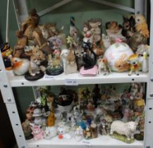 TWO SMALL SHELVES OF FIGURINES VARIOUS