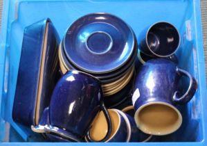 A SELECTION OF BLUE FLECK GLAZED DENBY POTTERY TABLE WARES
