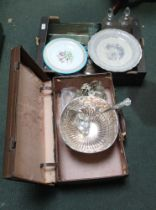 A BOX CONTAINING A SELECTION OF MIXED CHINA & GLASSWARE together with a tanned suitcase containing a