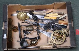 A BOX CONTAINING A SELECTION OF DOMESTIC METALWARES to include a scrap model of a mounted Don
