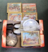 A BOX CONTAINING A SERIES OF WADDINGTON'S JIGSAW PUZZLES, domestic crockery, a pair of ice skates,