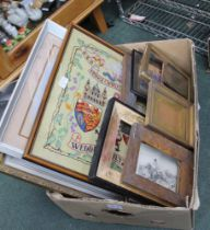 A BOX CONTAINING A SELECTION OF PRINTS & FRAMES VARIOUS