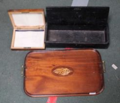 A WOODEN TWIN HANDLED TRAY together with two various wooden boxes