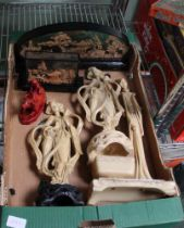 A BOX CONTAINING A SELECTION OF DOMESTIC COLLECTABLES of Oriental design