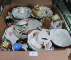 A BOX CONTAINING A SELECTION OF DOMESTIC POTTERY & PORCELAIN VARIOUS