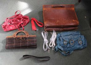 A TANNED PIGSKIN BRIEFCASE together with sundry other leather work, to include clutch bag, belts,