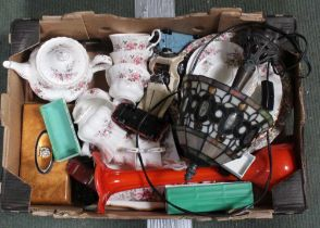 A BOX CONTAINING A ROSE DECORATED PART TEA SERVICE, Tiffany style lamp, model vehicles, etc.