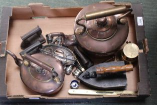 A SELECTION OF DOMESTIC METALWARES VARIOUS to include copper kettles