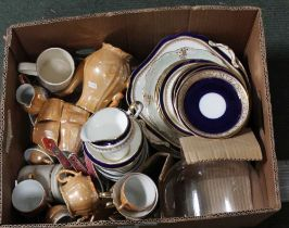 A BOX CONTAINING A SELECTION OF CERAMIC TABLE WARES, to include Oriental design