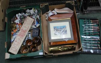 TWO BOXES CONTAINING A SELECTION OF COLLECTABLE ITEMS VARIOUS to include porcelain cruets, Art