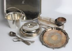 A selection of silver plate including ice bucket, ice cream scoop, tray, ladle, desk box, etc.