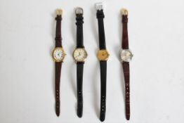 Four various Lady's wristwatches on leather straps, includes two Seiko, one Pascal Veran, one Jean