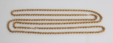 Two yellow gold marked 750 rope twist chains, both 18ct, approx.