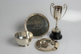 Four silver awards and commemorative pieces, including card tray awarded to Dr Solomon Ward D.C.L by