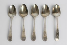 A set of five silver teaspoons, engraved 'BIM' to handle, with marks for London 1792 and George