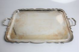 Silver two handled tray, with marks for Sheffield 1960 and William Hutton & Sons Ltd 'Lowe,