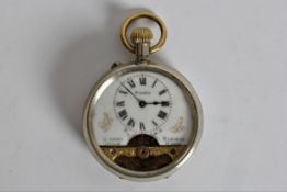 A Nickel cased Swiss made 8 day pocket watch. Important: Online viewing and bidding only. No in