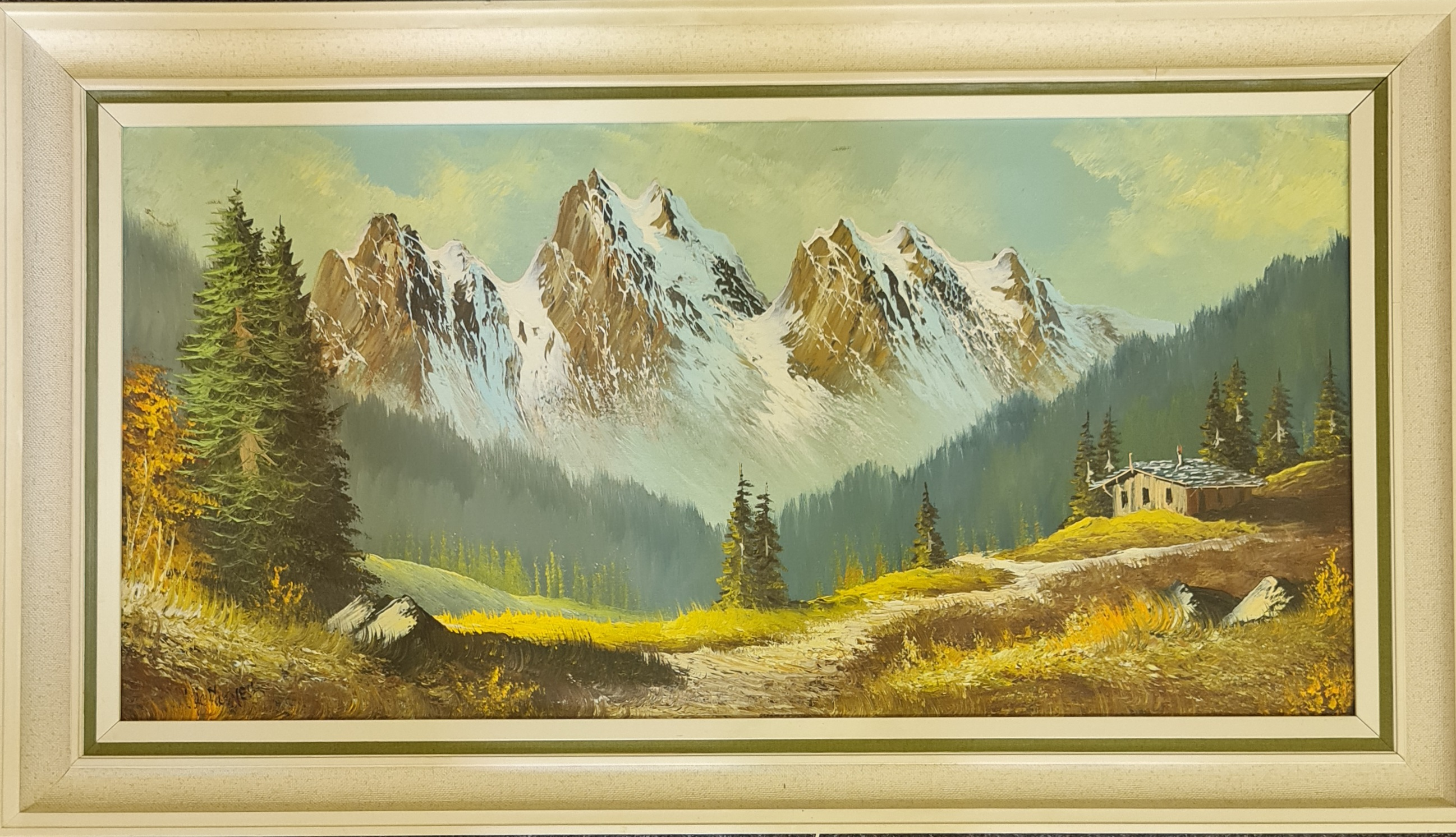 Two framed, signed oil on canvas, one by De Horier, path leading to chalet and snowy mountain - Image 2 of 2