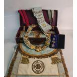 Royal Order of the Buffalos Masonic regalia including sash, heavy chain collar, cuffs, apron,
