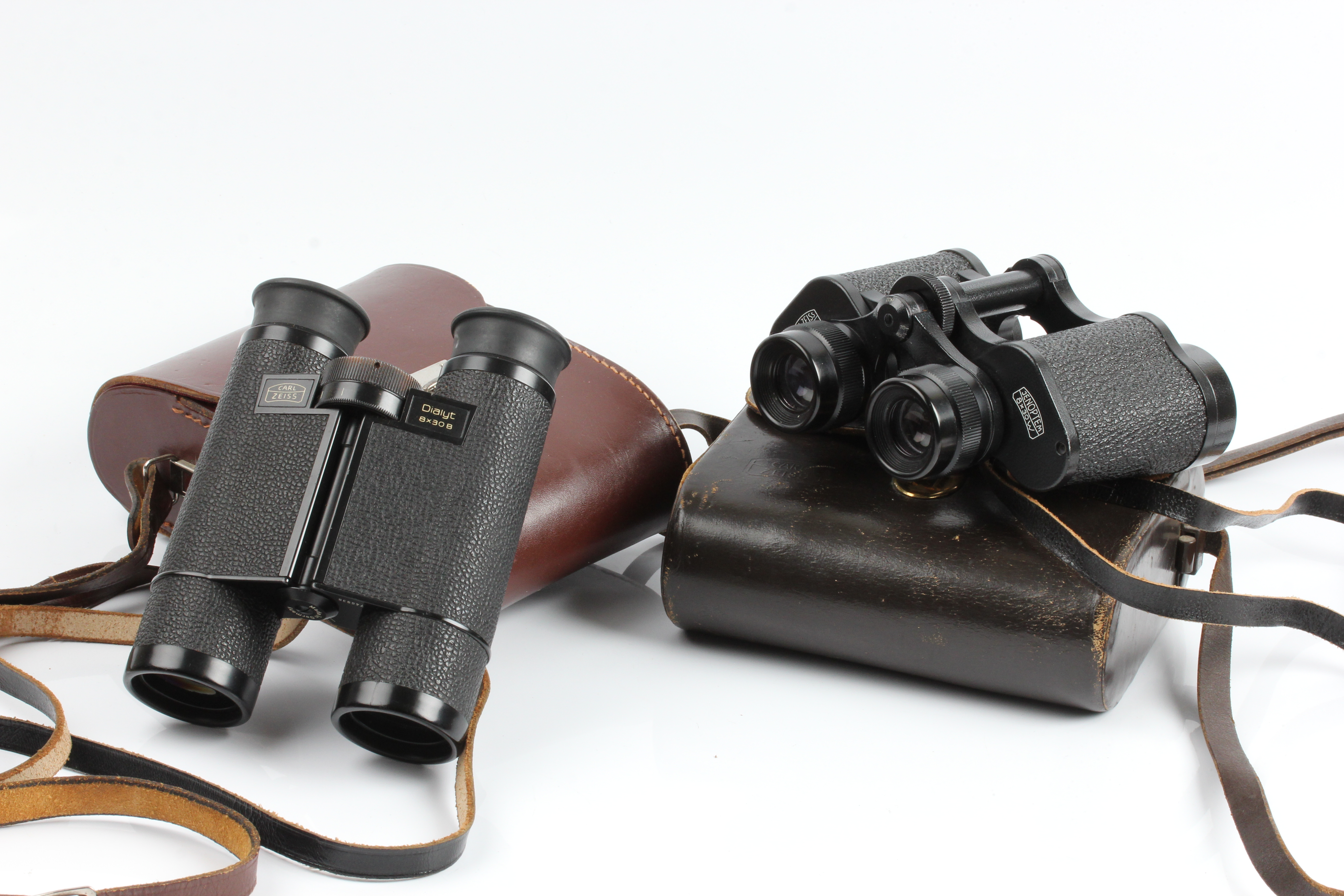 Two pairs of Carl Zeiss binoculars, Dialyt and Zenoptem, both in cases. IMPORTANT: Online viewing