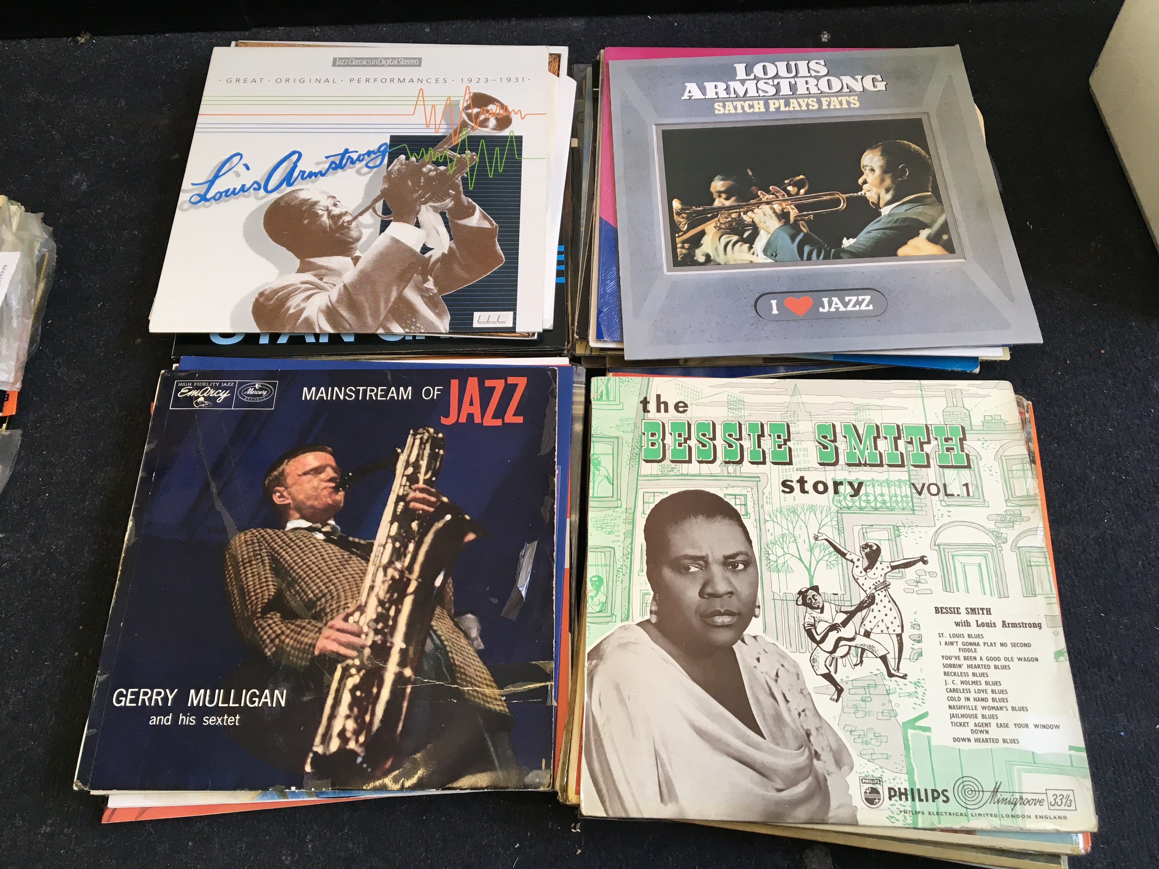 Approx. 100 various jazz vinyl records including Louis Armstrong, Bessie Smith, Duke Ellington, etc.