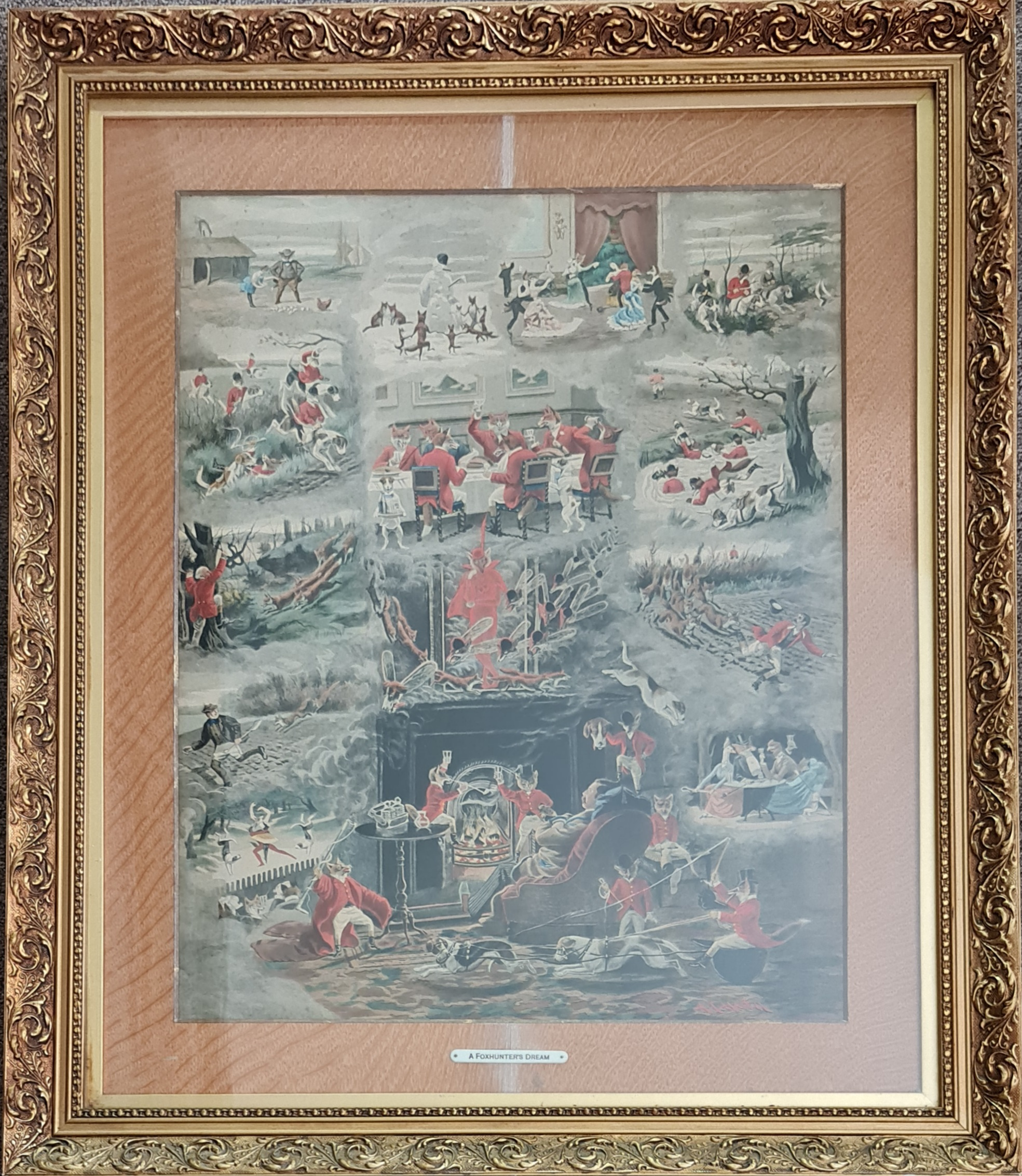 ALFRED CHARLES HAVELL. Framed print, titled 'The Foxhunters Dream', humorous depiction of foxes as