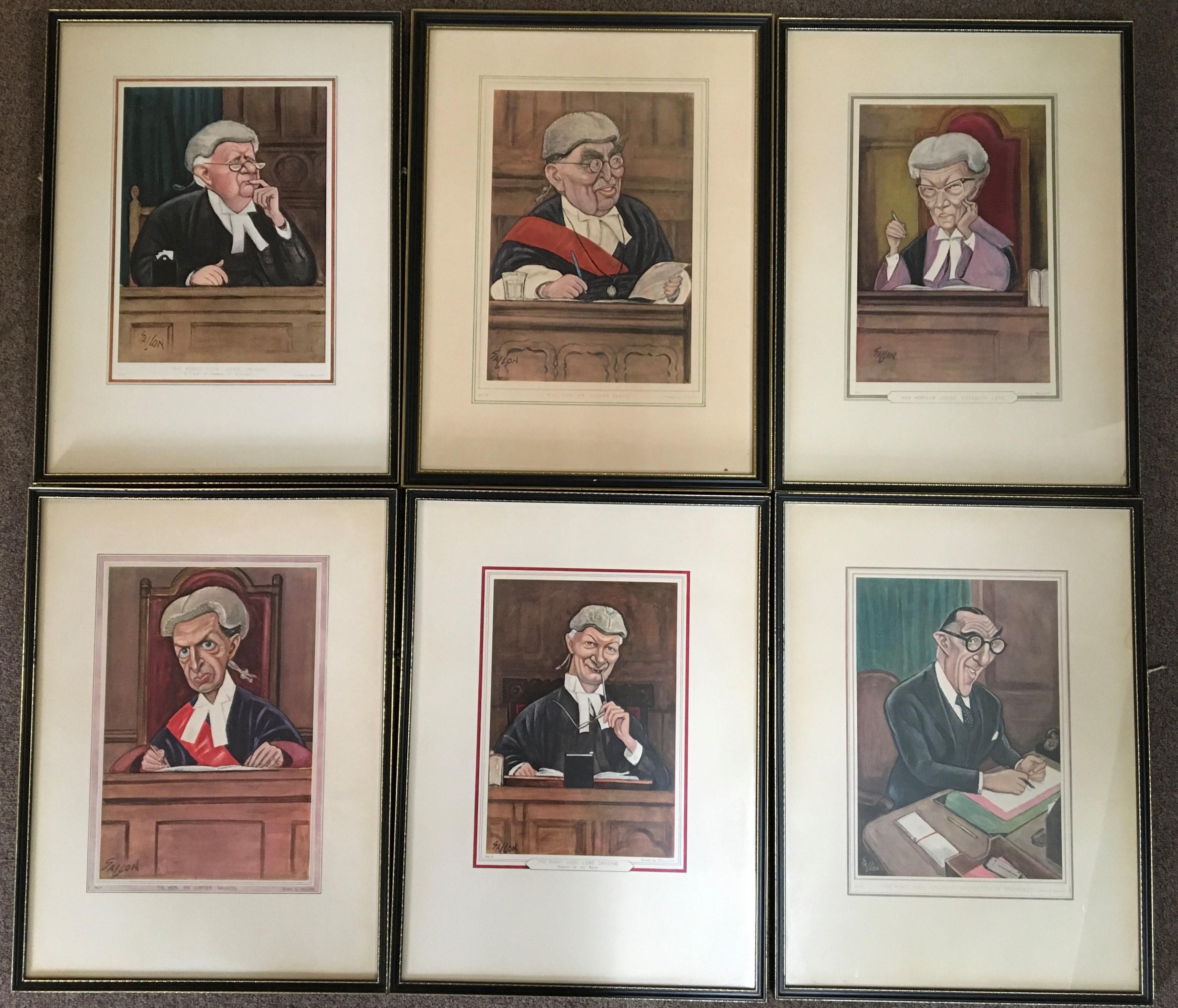 RALPH SALLON. Twelve framed prints depicting various judges, including Lord Upjohn, Justice Sachs,