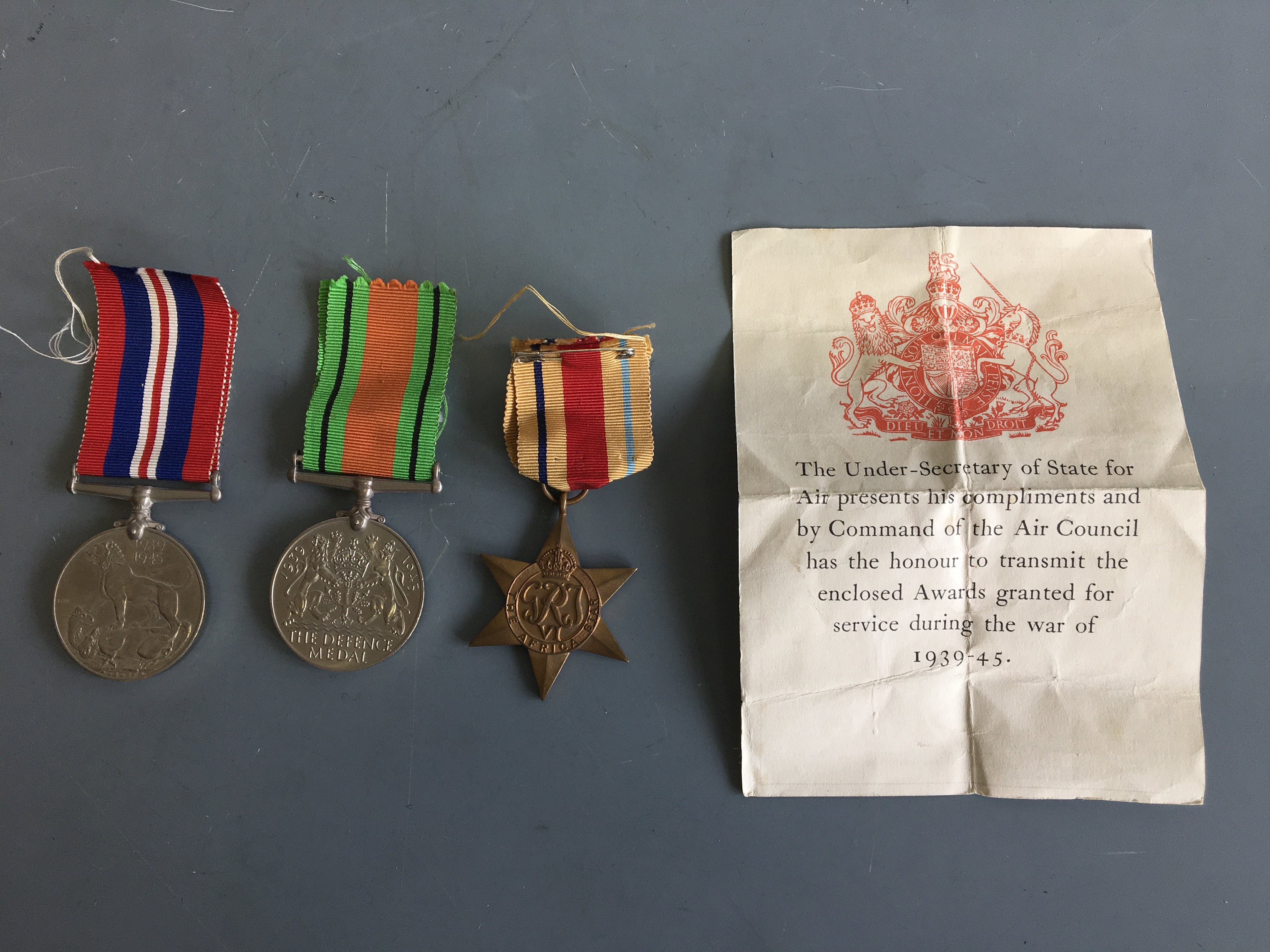World War Two War, Defence and Africa Star medals. IMPORTANT: Online viewing and bidding only. No in