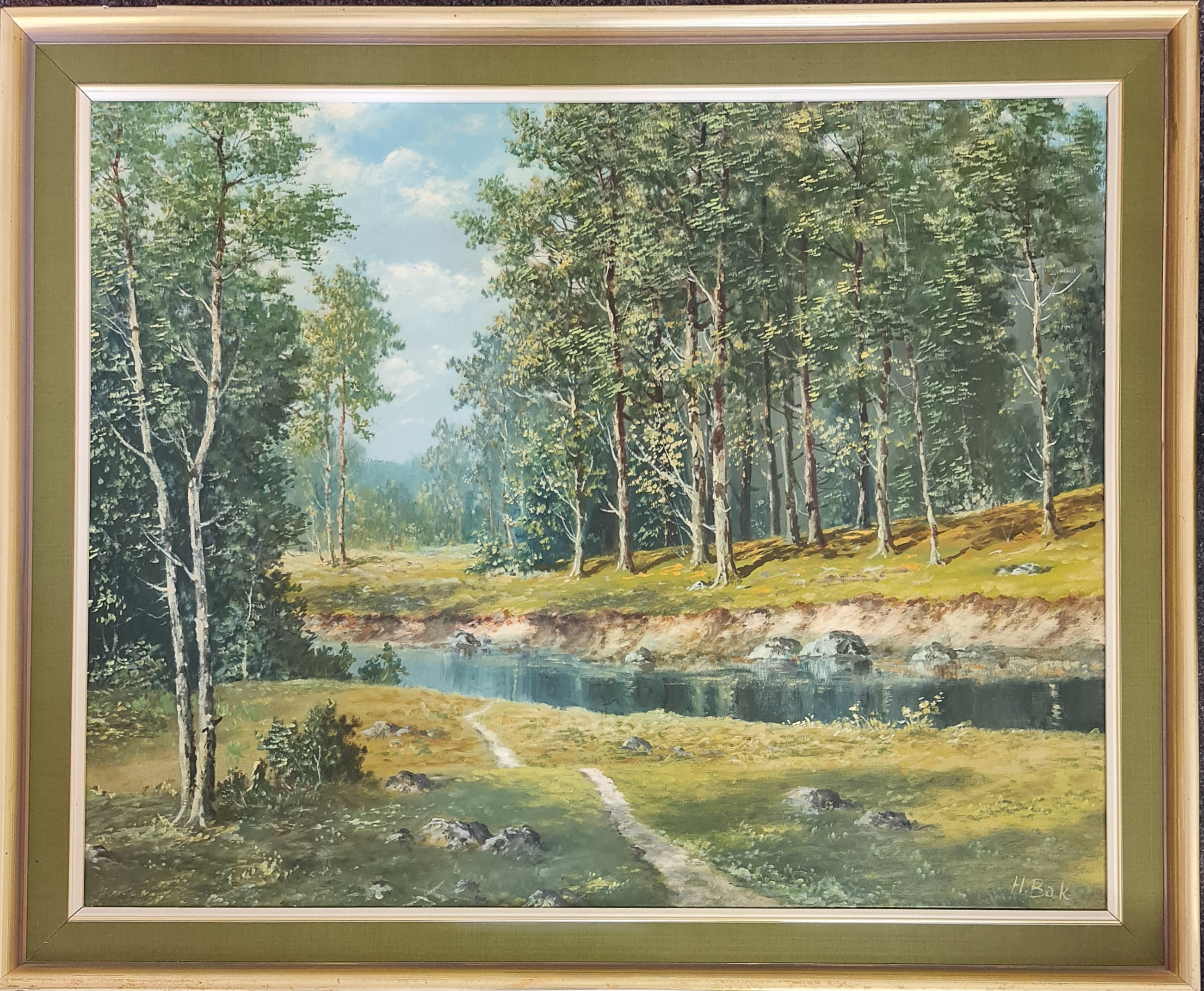 Two framed, signed oil on canvas, one by De Horier, path leading to chalet and snowy mountain