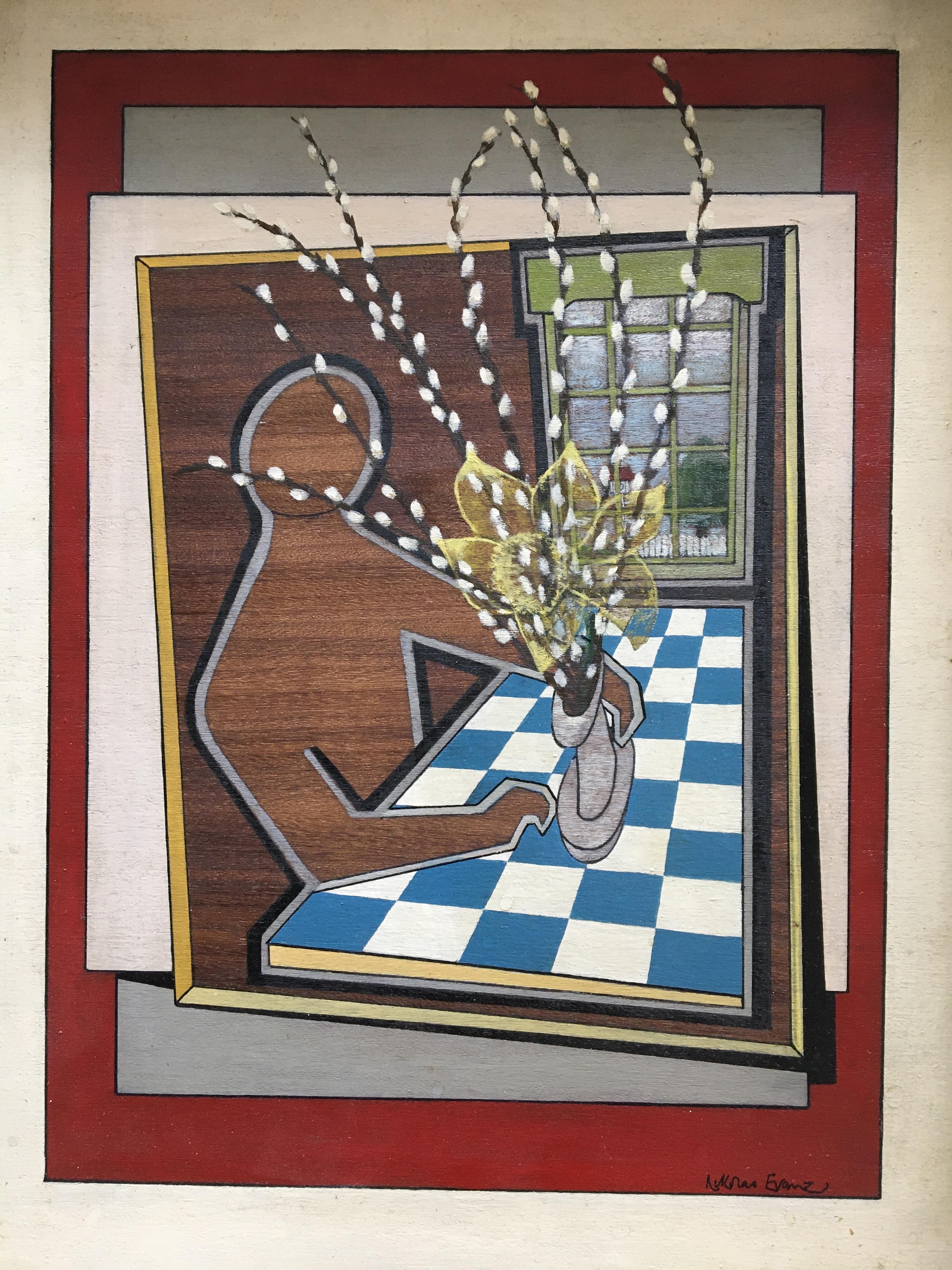 *NIKOLAS EVANS. Framed, signed, dated 1974 and titled 'The Flower Arranger', cryla and enamel oils