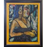 PAUL HILL (b. 1959). Framed, signed and dated 1996, acrylic on paper laid on board, female with blue