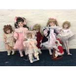 Seven Ashton-Drake Galleries and other porcelain dolls, including Deirdre, Peaches and Cream, Naomi,