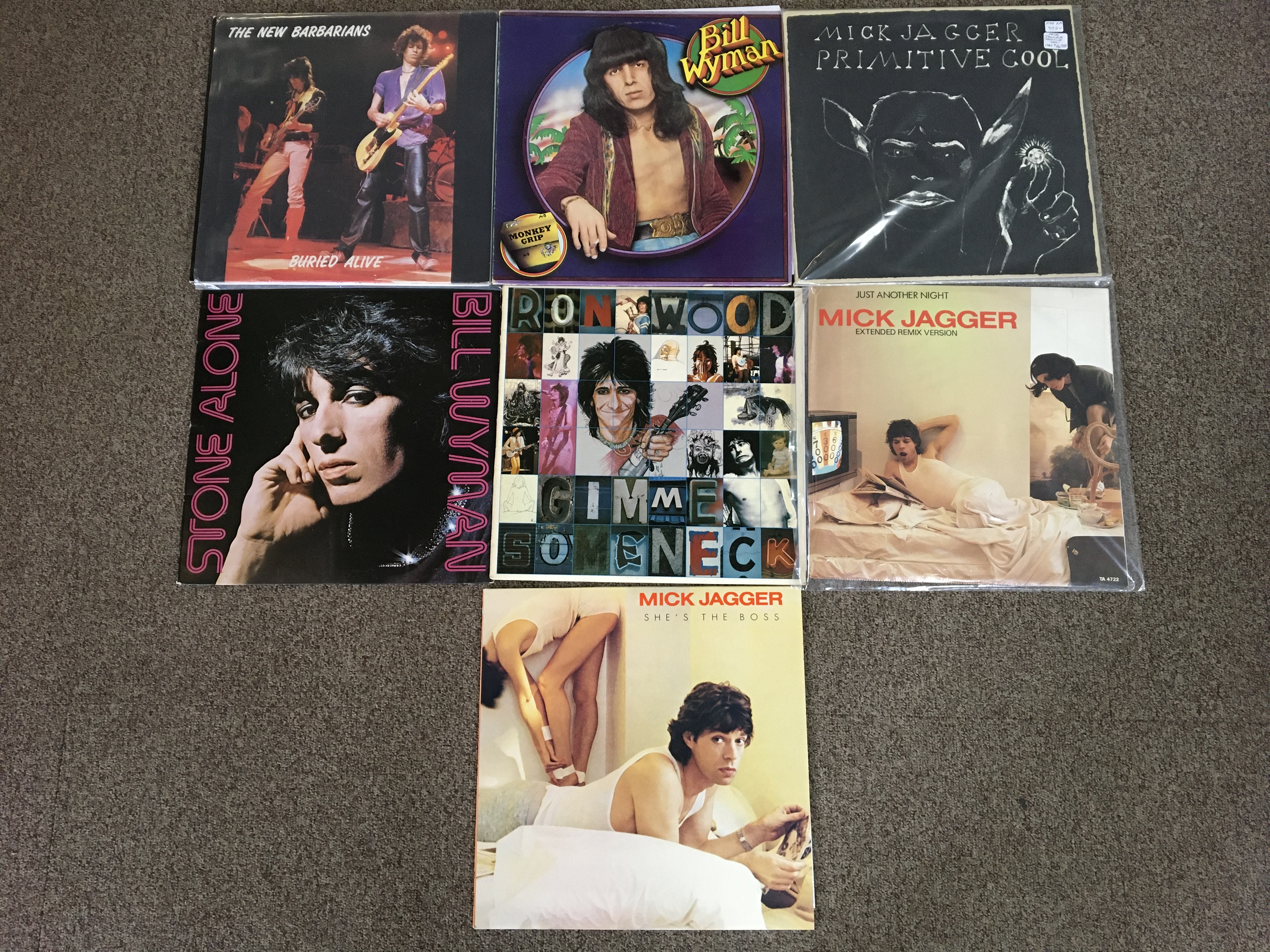 Seven vinyl records, Mick Jagger She's the Boss, Just Another Night Extended Remix Version and