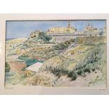 GUY MALET. Framed, signed in pencil, dated 1968 and titled 'Mdina, Malta', watercolour on paper,