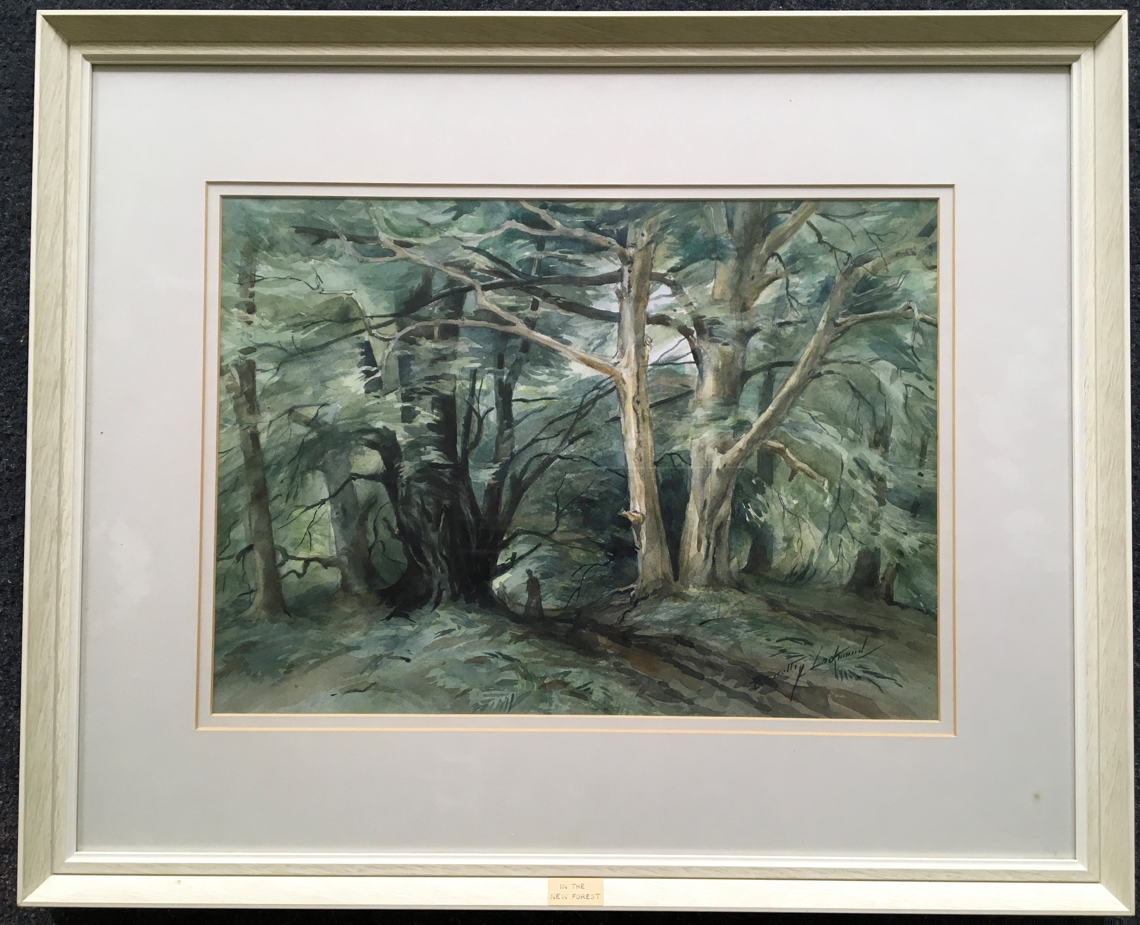 DOROTHY LOCKWOOD. Framed, signed and titled 'The New Forest', watercolour on paper, figures