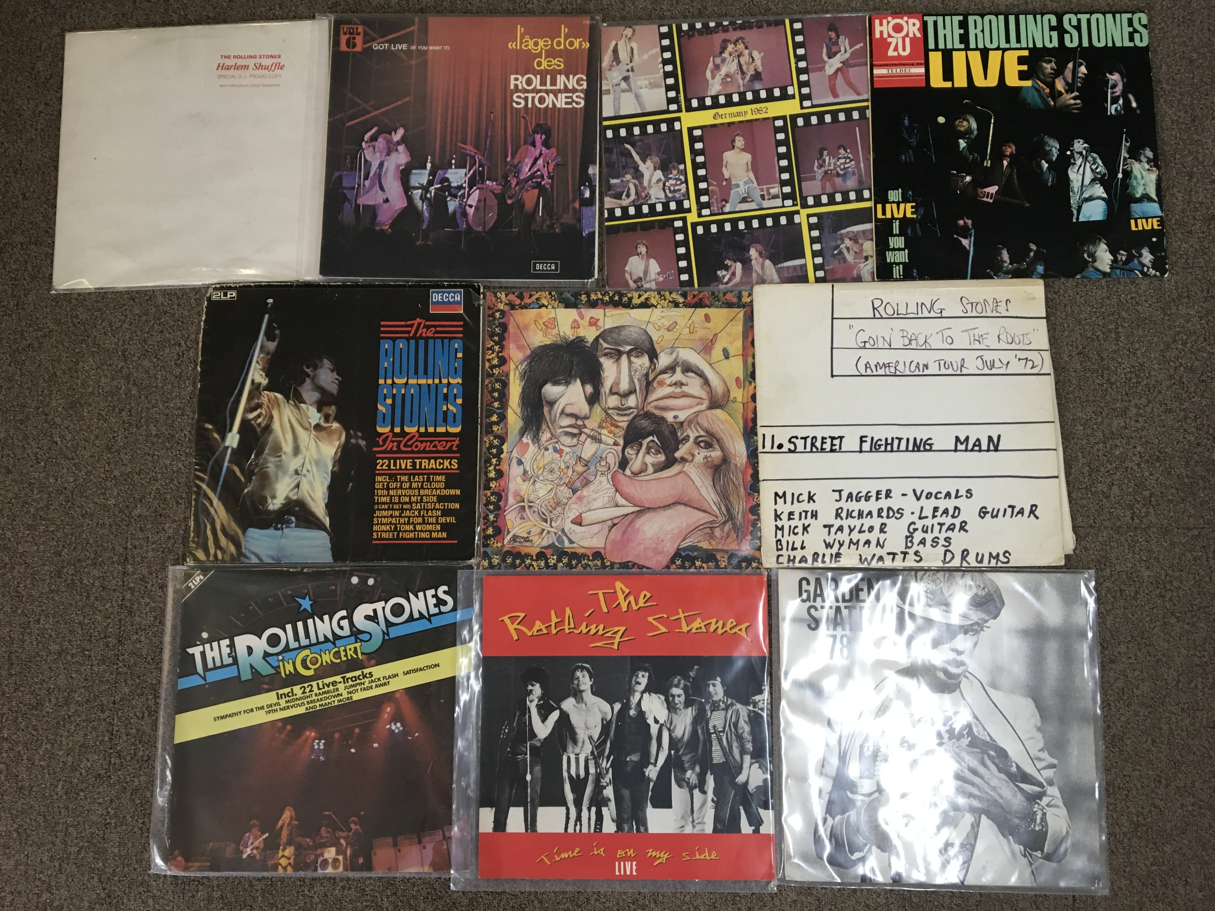 Ten Rolling Stones vinyl records, some live albums, Harlem Shuffle New York Mix, L'Age D'Or des