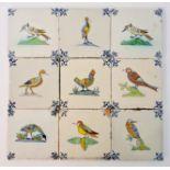 A set of nine 17th century Dutch Delft polychrome bird tiles, approx. 13cm x 13cm. IMPORTANT: Online