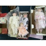 A selection of seventeen various porcelain dolls, in various sizes and designs, including Leonardo