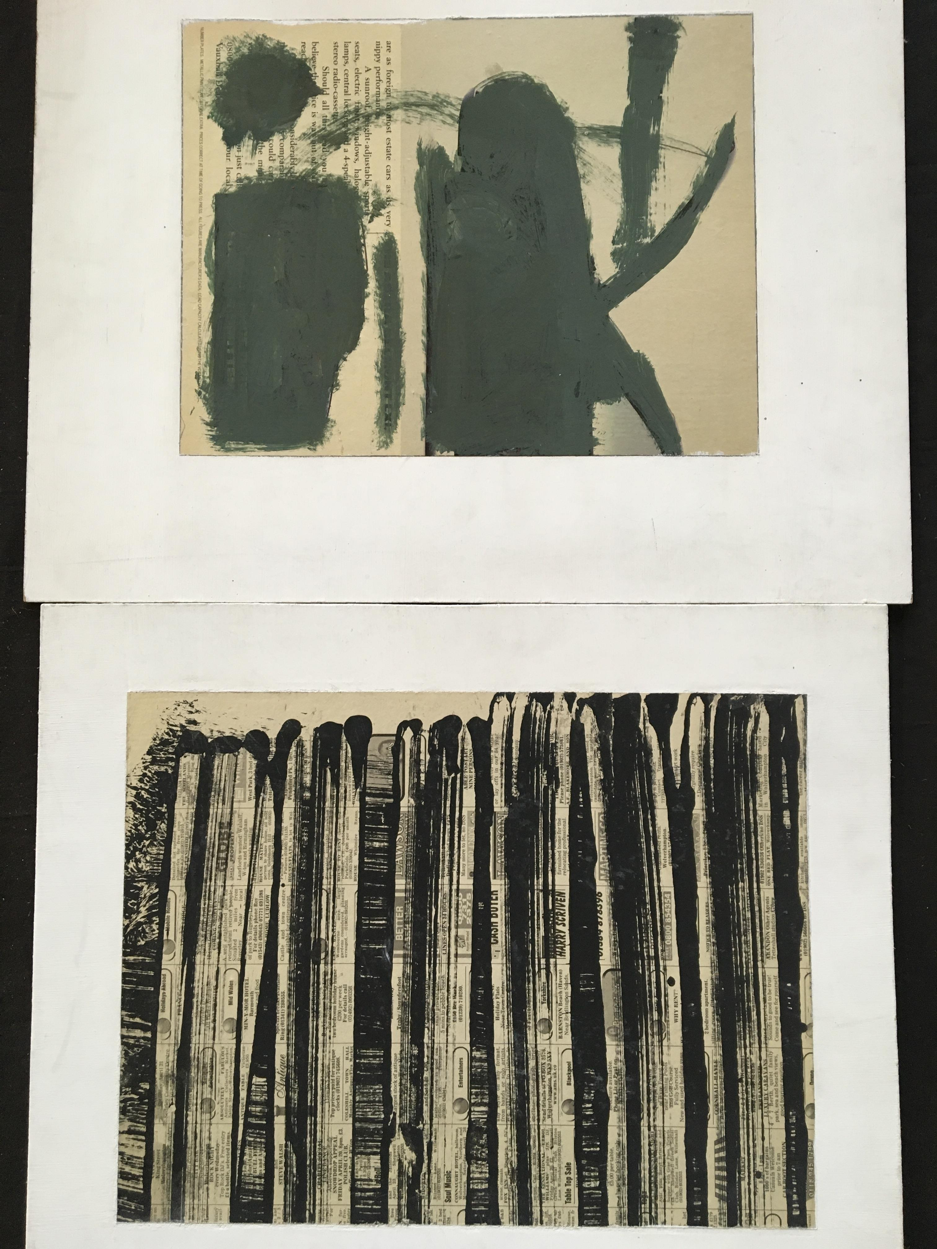 GEORGE HOLT (1924-2005). Two unframed, signed verso, mixed media on board, abstract compositions