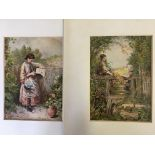 MYLES BIRKET FOSTER. Framed, signed with monogram, two watercolour on paper, girls by fences in