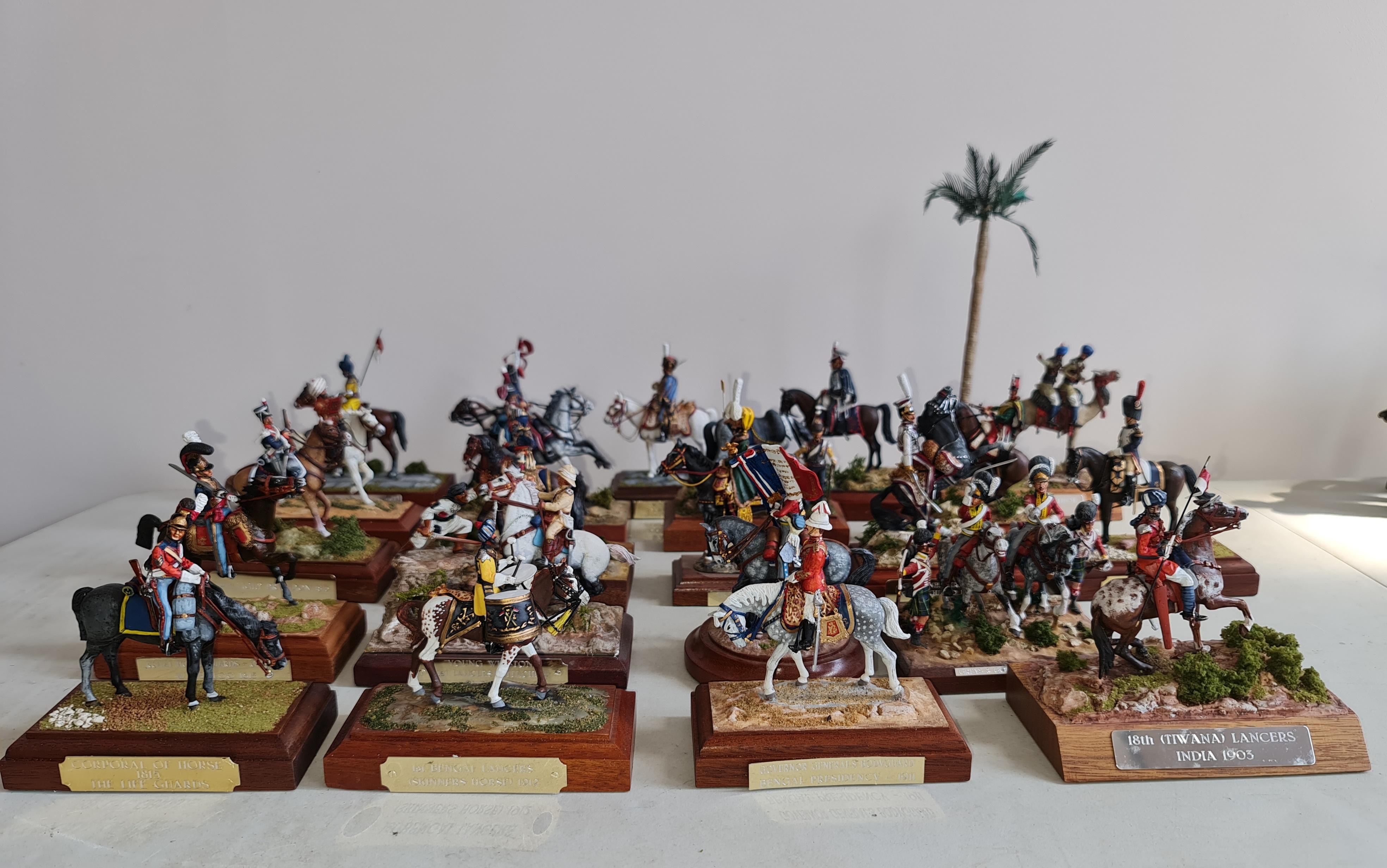 22 handpainted metal mounted on wood military figures on horseback scenes. IMPORTANT: Online viewing