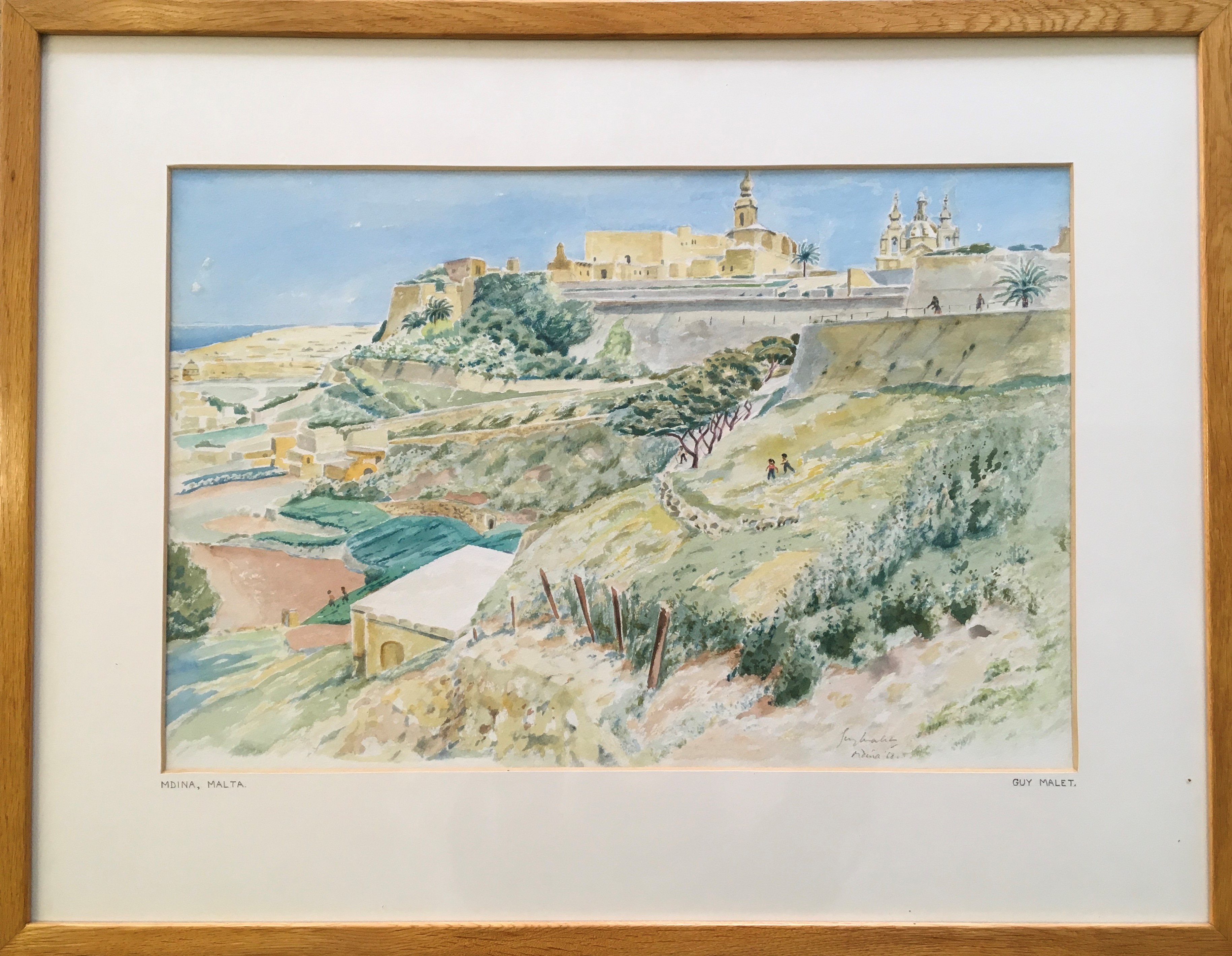 GUY MALET. Framed, signed in pencil, dated 1968 and titled 'Mdina, Malta', watercolour on paper, - Image 2 of 2