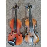 Two violins, one Stradivarius copy, one German, no cases. IMPORTANT: Online viewing and bidding