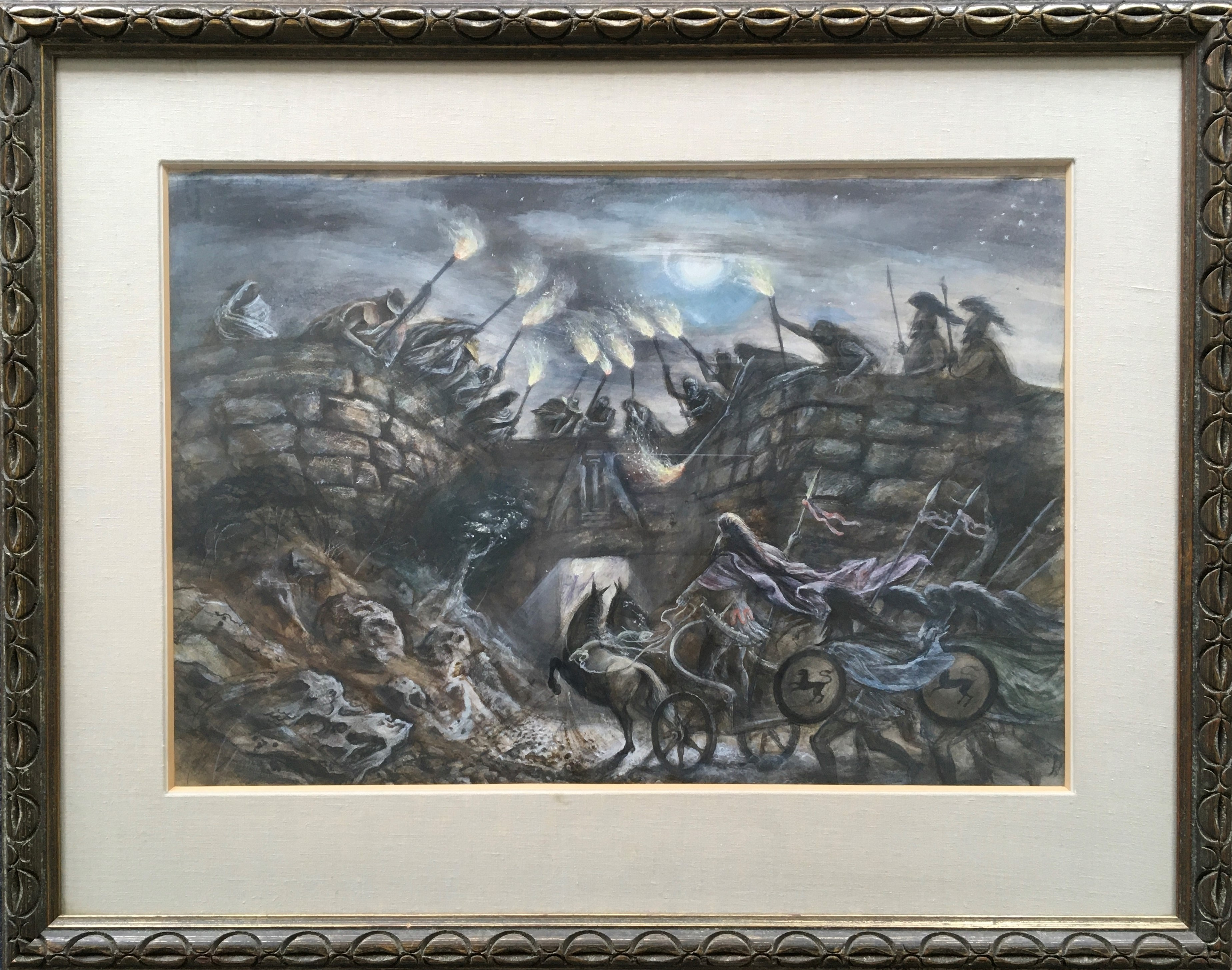 ALAN SORRELL. Framed, signed and titled 'Agamemnon's Homecoming', Greek mythological scene with