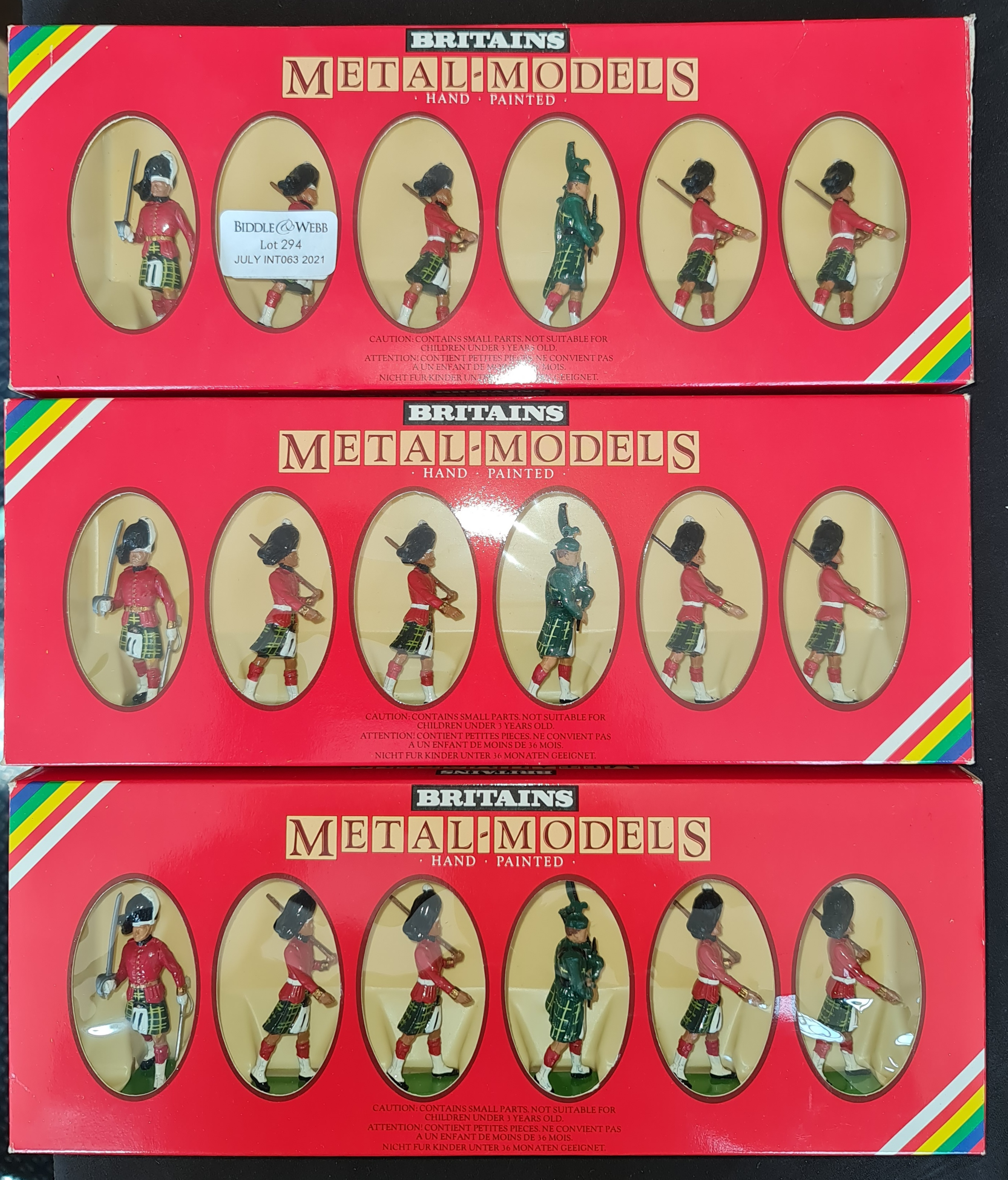 Three box sets of Britain's handpainted metal-models, eighteen figures in total. IMPORTANT: Online