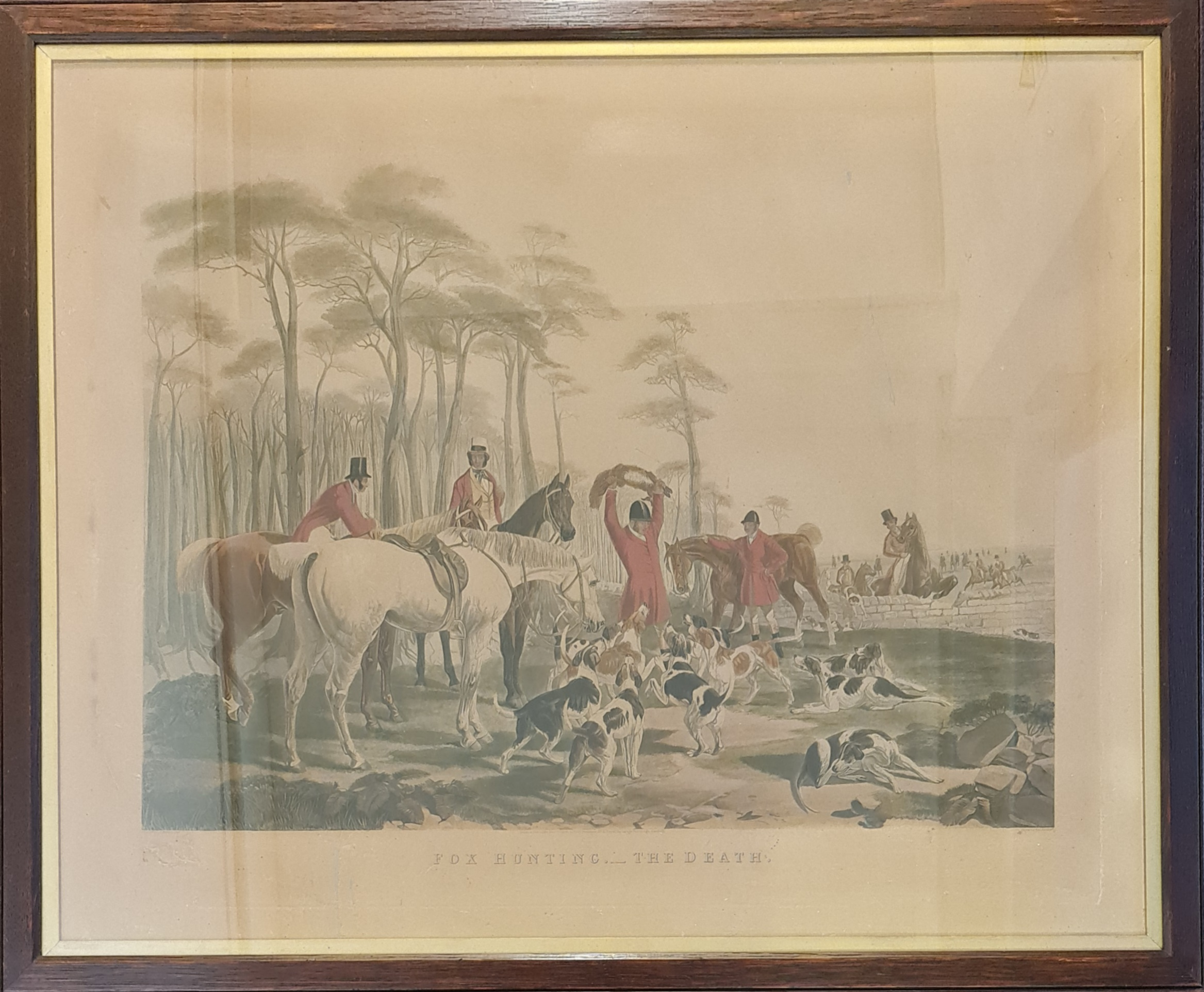 Framed fox hunting print, titled 'The Death', painted by J. F. Herring Snr, engraved by J. Mackrell,